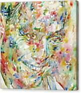 Charlie Parker Watercolor Portrait Canvas Print