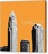 Charlotte Skyline 2 - Orange Canvas Print