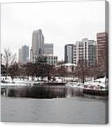 Charlotte Skyline In Snow Canvas Print