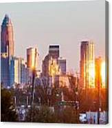Charlotte Skyline In The Evening Before Sunset Canvas Print
