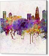 Charlotte Skyline In Watercolor Background Canvas Print
