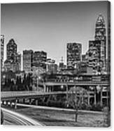 Charlotte Sunset Black And White Canvas Print