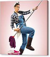 Charwoman On Pink Canvas Print