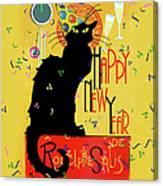 Chat Noir New Years Party Countdown Canvas Print