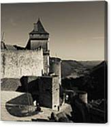 Chateau De Castelnaud With Hot Air Canvas Print