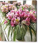 Chateau De Chenonceau Flowers On Mantle Canvas Print