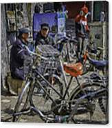 Chatting Amongst The Bikes Canvas Print