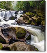 Chattooga River Potholes Waterfall Highlands Nc - The Artist's Hand Canvas Print
