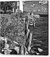 Cheboygan Lighthouse Bw Canvas Print