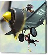 Cheeky Monkey Hanging From Plane Canvas Print