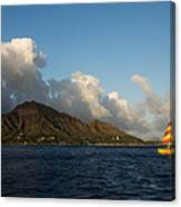 Cheerful Orange Catamaran And Diamond Head - Waikiki - Hawaii Canvas Print
