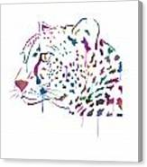 Cheetah Watercolor - White Canvas Print