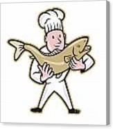 Chef Cook Handling Salmon Fish Standing Canvas Print