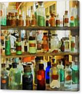 Chemistry - Bottles Of Chemicals Green And Brown Canvas Print