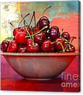 Cherries On The Table With Textures Canvas Print