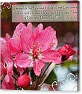 Cherry Blossom Greeting Card With Verse Canvas Print