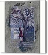 Cherry Blossom Red Abstract Canvas Print