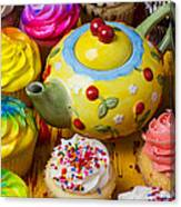 Cherry Teapot And Cupcakes Canvas Print