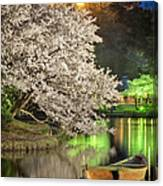 Cherry Blossom Temple Boat Canvas Print