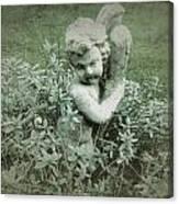 Cherub Statue In The Garden Canvas Print