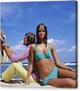 Cheryl Tiegs Modeling A Bikini At A Beach Canvas Print