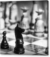 Chess Game In Black And White Canvas Print