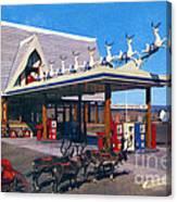 Chevron Gas Station At Santa's Village With Reindeer And Carl Hansen Canvas Print