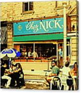 Chez Nick On Greene Avenue Montreal In Summer Cafe Art Westmount Terrace Bistros And Umbrellas Canvas Print