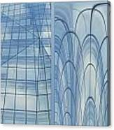 Chicago Abstract Before And After Blue Glass 2 Panel Canvas Print