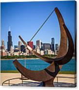 Chicago Adler Planetarium Sundial And Chicago Skyline Canvas Print