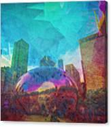 Chicago Bean Skyline Illinois Digital Paint Canvas Print
