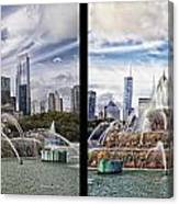 Chicago Buckingham Fountain 2 Panel Looking West And North Black Canvas Print