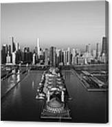 Chicago By Air Bw Canvas Print
