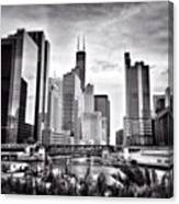 Chicago River Buildings Black and White Photo Canvas Print