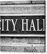 Chicago City Hall Sign In Black And White Canvas Print