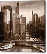 Chicago City View Afternoon B And W Canvas Print