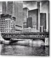 Wells Street Bridge Chicago HDR Photo Canvas Print