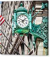 Chicago Clock On Macy's Marshall Field's Building Canvas Print