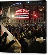 Chicago Cubs Fans Gather To Watch Game Canvas Print