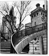 Chicago Staircase Black and White Picture Canvas Print