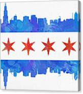 Chicago Flag Watercolor Canvas Print
