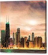 Chicago Gotham City Skyline Panorama Canvas Print