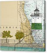 Chicago Harbor Se Guidewall Lighthouse Il Nautical Chart Art Canvas Print