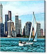Chicago Il - Sailboat Against Chicago Skyline Canvas Print