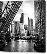Chicago Kinzie Street Bridge Black And White Picture Canvas Print