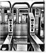 Chicago L Train Gate In Black And White Canvas Print