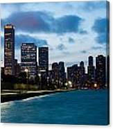 Chicago Lake Front At Blue Hour Canvas Print