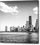 Chicago Lakefront Skyline Black And White Picture Canvas Print