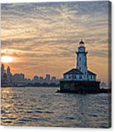 Chicago Lighthouse And Skyline Canvas Print