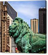 Chicago Lion Statues At The Art Institute Canvas Print
